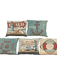 cheap -Set of 5 Sailing anchor pattern  Linen Pillow Case Bedroom Euro Pillow Covers 18x18 inches  Cushion cover