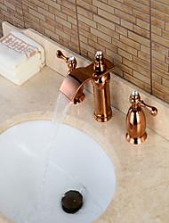 Moderne Diffusion large Jet pluie Soupape en laiton Trois poignées trois trous Or rose , Robinet lavabo