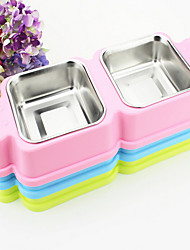 Cat Dog Feeders Pet Bowls & Feeding Waterproof Portable Double-Sided Green Blue Pink Plastic Stainless Steel