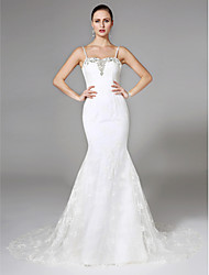 cheap -Mermaid / Trumpet Spaghetti Straps Court Train Lace Wedding Dress with Beading by LAN TING BRIDE®