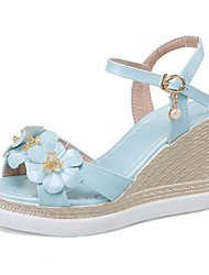 Women's Sandals Spring Summer Fall Comfort Club Shoes Leatherette Outdoor Dress Casual Wedge Heel Buckle Hollow-out FlowerWhite Blue