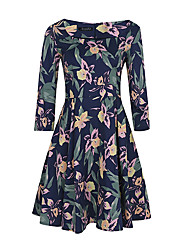 Plus Size Party Vintage Sheath Dress,Floral Boat Neck Knee-length ¾ Sleeve Polyester Spandex Blue Summer High Rise Micro-elastic