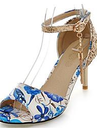 Feminino-Sandálias-Sapatos clube-Salto Agulha-Preto Azul Verde Vermelho-Gliter Materiais Customizados Courino-Escritório & Trabalho