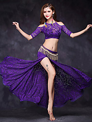 Belly Dance Outfits Women's Performance Lace Lace 2 Pieces Half Sleeve Natural Top Skirt