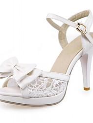 abordables -Femme Chaussures Polyuréthane Synthétique Similicuir Printemps Eté Confort Nouveauté Sandales Marche Talon Aiguille Bout ouvert Noeud pour