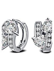 2017 Fashion Luxury 18K White Gold AAA Zircon Hoop Earrings Party Jewelry For Women