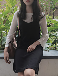 знак осень новая корейская версия белого жгутого платье из двух частей рогового втулки