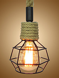 cheap -Vintage Hemp Rope Loft Pendant Lights Industrial Iron Cage Dining Room Cafe