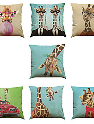 cheap -Set of 7 giraffe pattern Linen  Cushion Cover Home Office Sofa Square  Pillow Case Decorative Cushion Covers Pillowcases