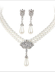 cheap -Crystal Pearl Imitation Pearl Rhinestone Imitation Diamond Jewelry Set 1 Necklace 1 Pair of Earrings - Luxury Bridal Silver Jewelry Set