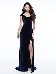 Sheath / Column V-neck Sweep / Brush Train Velvet Formal Evening Dress with Pleats by TS Couture®