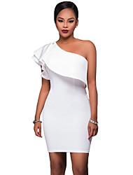 Femme Epaules Dénudées/volant Moulante Robe Soirée Sexy,Couleur Pleine Une Epaule Mini Sans Manches Rouge Blanc Noir Spandex Eté Taille Haute