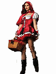 cheap -Little Red Riding Hood Cosplay Costume Female Carnival Festival / Holiday Halloween Costumes Red Solid