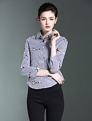 Burdully Women's Casual/Daily Work Simple Spring Summer ShirtStriped Animal Print Shirt Collar  Sleeve Blue Cotton