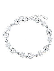 cheap -Women's Charm Bracelet Love Fashion Silver Plated Snowflake Heart Jewelry Gift Costume Jewelry Silver