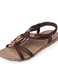 Women's Sandals Mary Jane PU Summer Casual Office & Career Outdoor Mary Jane Ribbon Tie Low Heel Black Beige Yellow Dark Brown Flat