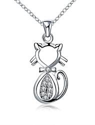 Women's Pendant Necklaces Chain Necklaces AAA Cubic Zirconia Geometric Animal Shape Cat Zircon Copper Silver Plated Basic Unique Design