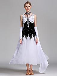 Danse de Salon Robes Femme Spectacle Elasthanne Tulle Velours 4 Pièces Taille moyenne Robe Tour de Cou Bracelets