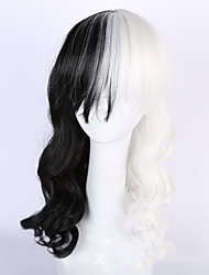 cheap -Black/White Cosplay Lolita Party Wig Heat Resistant Cheap Body Wave Half Black Half White Hair