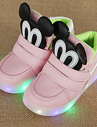 cheap -Shoes Leatherette Spring Light Up Shoes First Walkers Comfort Sneakers LED Hook & Loop for Athletic Casual Outdoor Black Pink Light Green