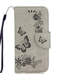 abordables -Funda Para Huawei Honor 5C Huawei Soporte de Coche Cartera con Soporte Flip Diseños En Relieve Funda de Cuerpo Entero Mariposa Dura Cuero