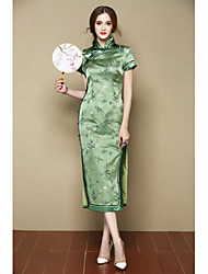 I-YECHO Women's Going out Beach Cute Chinoiserie A Line DressFloral Stand Midi Short Sleeve Green Polyester Spring Summer Mid Rise Inelastic