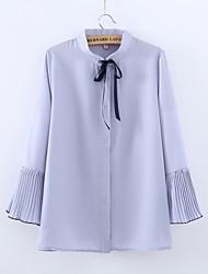 Women's Dailywear Quinceanera Sweet 16 School Date Cute Summer Blouse,Solid Color Shirt Collar Long Sleeves N/A Medium