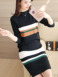 # 4383 autumn and winter new Women Korean Slim knit sweater piece suit hedging clip strips