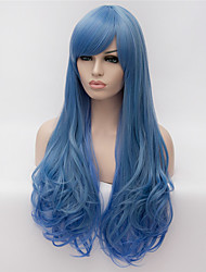 cheap -European and American Popular Wig Blue Gradient Mixed Color Long Curly Wig 26inch 26inch