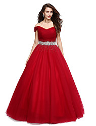 cheap -Ball Gown Off-the-shoulder Floor Length Tulle Formal Evening Dress with Beading Crystal Detailing Sequins by QZ