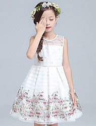 Ball Gown Knee Length Flower Girl Dress - Organza Sleeveless Jewel Neck by YDN