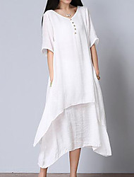 Women's Casual/Daily Simple Loose Dress,Solid V Neck Midi Short Sleeves Cotton Summer Mid Rise Inelastic Medium