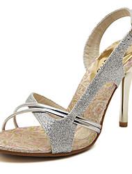 abordables -Mujer-Tacón Stiletto-Confort Zapatos del club-Sandalias-Boda Vestido Fiesta y Noche-PU-Plata