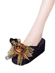 Women's Slippers & Flip-Flops PU Summer Casual Outdoor Satin Flower Flat Heel Wedge Heel Black Purple Fuchsia Blue Blushing Pink Flat