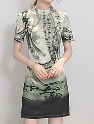 Plus Size Casual/Daily Party Vintage Simple Chinoiserie Shift Dress,Plaid Crew Neck Above Knee Short Sleeve Polyester Green