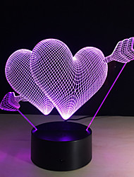 cheap -3D Led Night Light 7 Color Changing Piercing Heart Creative Remote Control Or Touch Switch Led Decorate Lamp As Gift
