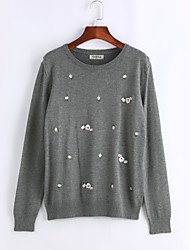 cheap -Women's Plus Size Long Sleeves Pullover Print