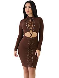 Moulante Robe Femme Soirée Sexy,Couleur Pleine Col Ras du Cou Au dessus du genou Manches Longues Rouge Noir Marron Polyester Spandex