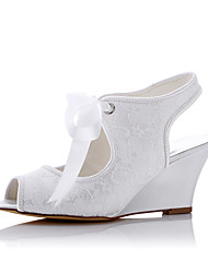 Heels Spring Summer Fall Comfort Tulle Wedding Party & Evening Dress Wedge Heel White