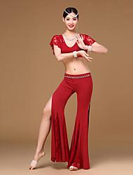 economico -Danza del ventre Completi Da donna Addestramento Pizzo Modal Drappeggi Spacco frontale A fantasia 2 pezzi Maniche corte CadenteTop