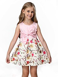 Girl's Cotton Fashion Europe And United States Printing Children's Princess Children's Wear Dress The Characteristics Of big Bowknot Dress
