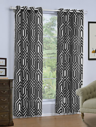 cheap -Grommet Top One Panel Curtain Modern, Print Geometic Living Room Linen/Polyester Blend Material Curtains Drapes Home Decoration