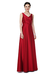 A-Line V-neck Floor Length Satin Bridesmaid Dress with Pleats by LAN TING BRIDE®
