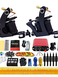 Complete Tattoo Kit 2 Pro Tattoo Machine Power Supply Foot Pedal Needles TK257
