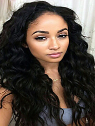cheap -Dark Black Color Lace Front Human Hair Wigs Water Wave 130% Density Malaysian Virgin Hair Lace Front Wigs With Baby Hair