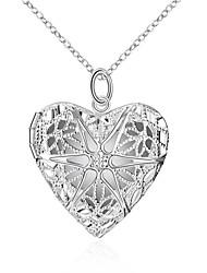 Feminino Colares com Pendentes Colares em Corrente Jóias Formato de Coração Cobre Prata ChapeadaOriginal Pingente Amor Coração Geométrico