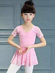 abordables -Ballet Robes Enfant Utilisation Coton Dentelle Dentelle Fantaisie Volants Manches courtes Taille haute Robe