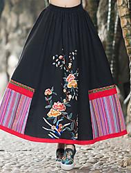 Femme Jupes,Trapèze Fleur Imprimé Arc-en-ciel Mosaïque Jacquard Brodée,Taille Normale Vintage Mignon Chinoiserie MidiSortie Décontracté /