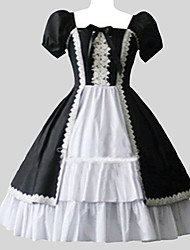Sweet Lolita Dress Vintage Inspired Women's One Piece Dress Cosplay Puff/Balloon Short Sleeves