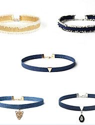 Set de Bijoux Collier court /Ras-du-cou Multi-pierre Forme de Cercle Tissu Original Pendant Bleu de minuit Bijoux PourAnniversaire